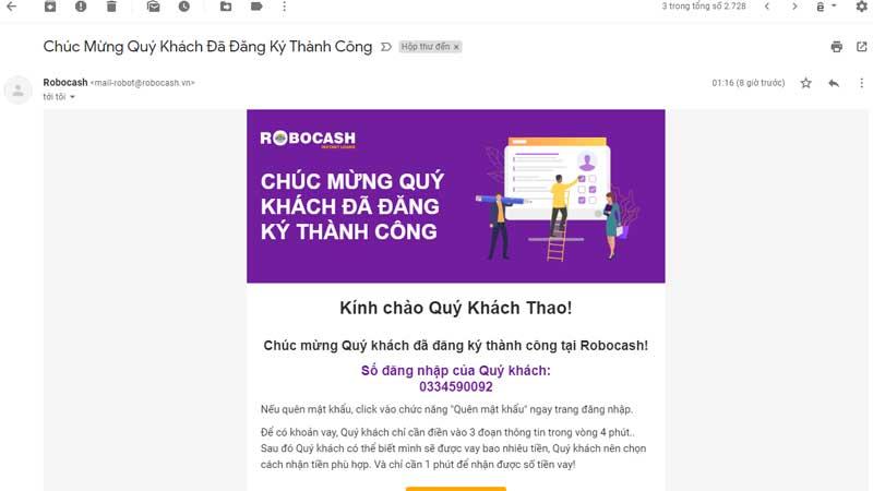 email bị người lạ đăng ký vay tiền robocash lãi suất cao