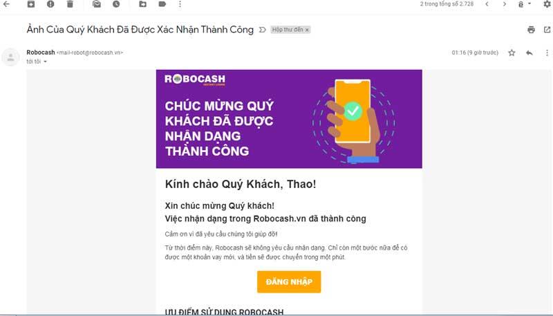 email bị người lạ đăng ký roboscash